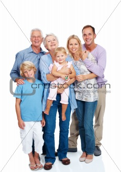 Happy family standing together on white background