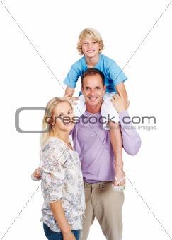 Young happy family standing isolated on white background