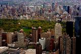 Aerial view of central park with big skyscrapers