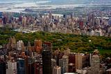 Aerial view of central park with big buildings