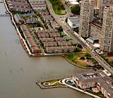 Aerial view of residential area on the bank of river