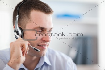 Close up of call center agent talking with costumer
