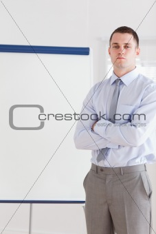 Businessman about to give a presentation
