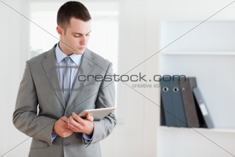 Businessman checking his notes