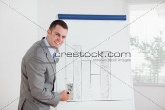 Smiling businessman editing column graph