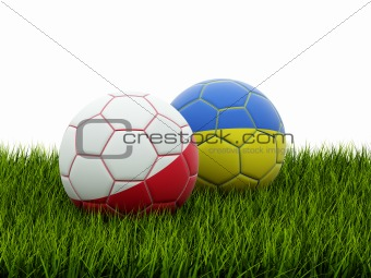 EURO 2012 footballs isolated on grass
