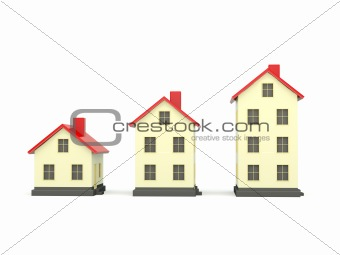 Three houses with red roof isolated on white