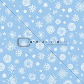 White snowflakes on a blue background.