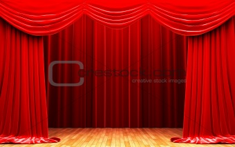 Red velvet curtain opening scene