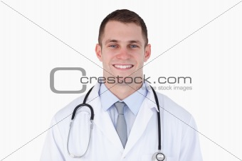 Close up of confident smiling doctor