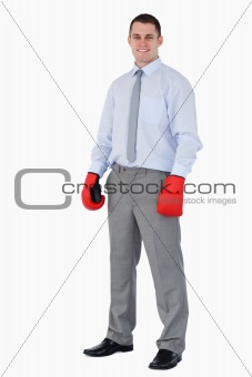 Smiling businessman ready for tough negotiation