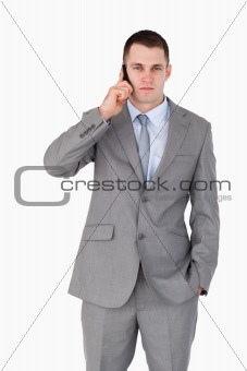 Close up of businessman on the cellphone