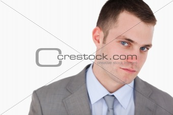 Close up of confident looking businessman