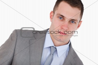 Close up of confident young businessman