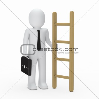 3d business briefcase man hold a ladder