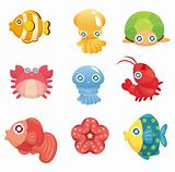 cartoon aquatic animal set