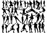 Roller and inline skater silhouettes
