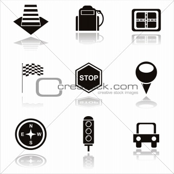 black traffic icons