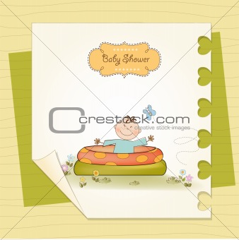 baby bathe in a small pool . shower announcement card