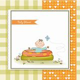 baby bath in a small pool . shower announcement card
