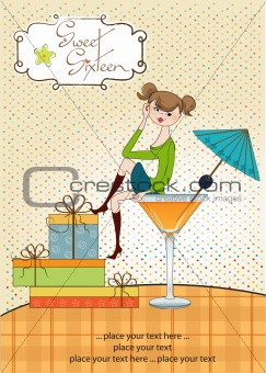 Attractive young girl sitting on the edge of a glass.
