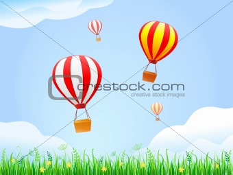 Landscape With Green Grass and Hot Air Balloons