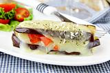 appetizer eggplant  parmigiana with cheese and tomato