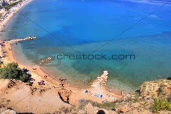 Beautiful blue Baska bay beach aerial view