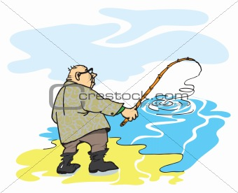 A fisherman with a fishing rod