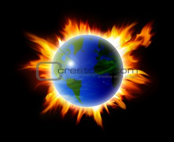 abstract world on fire background