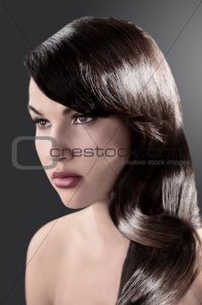 beauty girl with long shiny brown hair