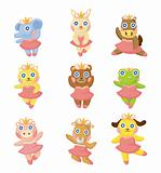 cartoon animal ballerina icons