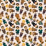 cartoon retro gentleman seamless pattern