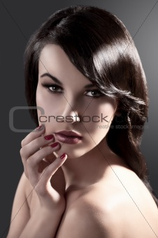 beauty girl with brunette hair style