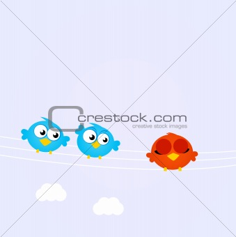 Blue Birds in line with the diverse red one