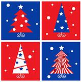 Winter Christmas Trees retro blocks collection - red & blue