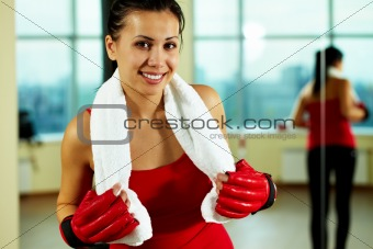 Female in sport gloves