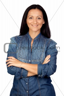 Adorable woman with denim shirt