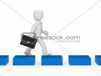 business man blue cube way