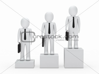 3 business man stand on a box