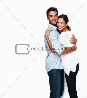 Warm affectionate couple embracing