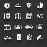 Set pictograms. Symbols Roadside services. Car services. Gas station. Dark gray background