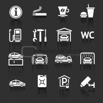 Set pictograms. Symbols Roadside services. Car services. Gas station. Dark gray background
