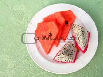 watermelon and dragon fruit