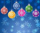 Hanging Ornaments on Blurred Snowflakes Background Horizontal