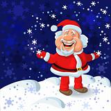 vector a happy Santa Claus on the background of snowflakes