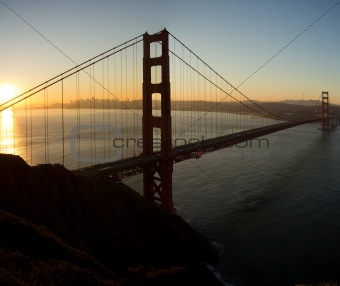 Sunrise over Golden Gate Bridge and San Francisco Bay