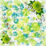 Green and blue bokeh background with decorative frames, butterfl