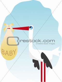 Stork with a child