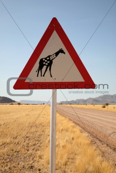 Danger Giraffes Road Sign